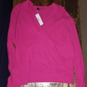 NWT. Super cute Pink wrap style long sleeve
